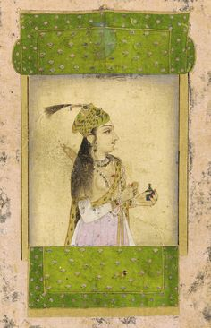 Portrait of a lady 17th century   Mughal dynasty  Color and gold on paper H: 15.1 W: 9.3 cm India