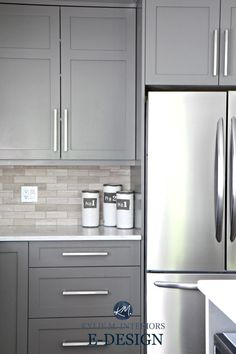 Gray Painted Kitchen Cabinets, Benjamin Moore Amherst Gray. Quartz White  Countertops, Limestone Backsplash