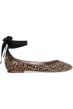 AERIN | Leather-trimmed leopard-print calf hair ballet flats | NET-A-PORTER.COM