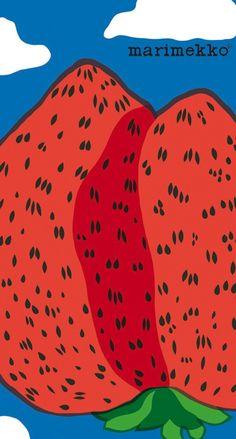 マリメッコ/いちご iPhone壁紙 Wallpaper Backgrounds iPhone6/6S and Plus Marimekko iPhone Wallpaper