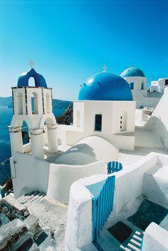Greece Travel Inspiration - Domed Church, Santorini, Greece.