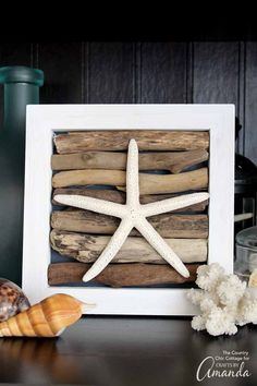 Headed to the beach this summer? Be sure to collect some driftwood to make this driftwood art for your home.