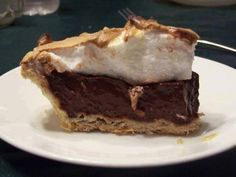 Old fashioned chocolate pie :http://recipes-all.com/old-fashioned-chocolate-pie-2/