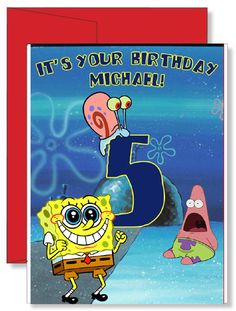 Personalized Birthday Greeting Card Spongebob Squarepants Spongebob Birthday Party, It's Your Birthday, Birthday Greeting Cards, Birthday Greetings, Jack B, Family Vacation Shirts, Spiderman Spider, Personalized Greeting Cards, Red Envelope
