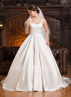 Ball-Gown Scoop Neck Cathedral Train Satin Wedding Dress With Ruffle (002055920)