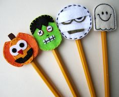 Halloween Pencil Topper Set Halloween Pumpkin by BabyWhatKnots