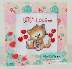 Craftybit: With Love... Always... Hand Cross Stiched Card from cross stitch kit from Cross Stitch Card Shop and then added papers and sentiment from stash