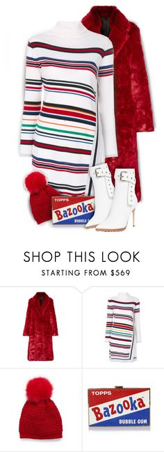 """Winter Fun"" by kiki-bi ❤ liked on Polyvore featuring Calvin Klein 205W39NYC, Iceberg, Anya Hindmarch, Monse, stripeddress, Whiteboots, knitteddress, fauxfurcoats and pompombeanies"