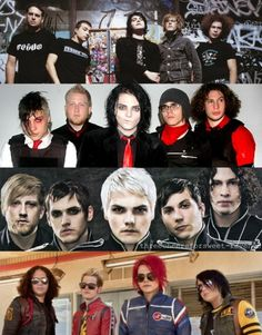 My Chemical Romance, through the years. I love when an artist is constantly changing. Gerard Way and Davey Havok are the masters of this....... a different look for every album.