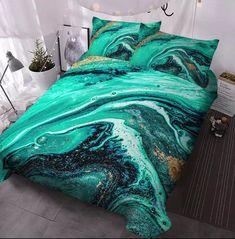 Marble Bedding, Marble Duvet Cover, Gold Comforter, Twin Comforter Sets, Duvet Cover Sets, Duvet Covers, Glitter Room, Gold Glitter, Turquoise Bedding