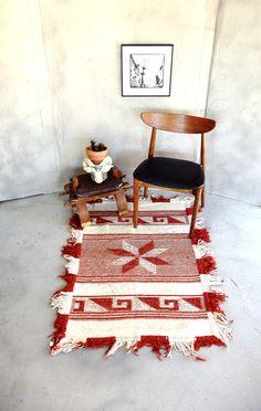 "Vintage Southwest Rug Rust and Cream Woven Fringed Area Rug 35"" x 50"". $150.00, via Etsy."