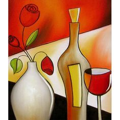 Delightful Glass Vases With Branches Ideas - Abstract art: A mystery - Vase ideen Art Du Vin, Bedroom Decor Pictures, Vase With Branches, Cubism Art, Vase Crafts, Small Canvas Art, Wine Art, African Art, Art Lessons