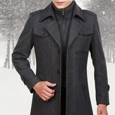 Nanquan Men Thickened with Faux-Fur Trim Camouflage Midi Winter Coat