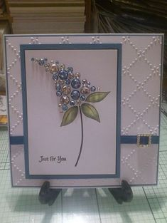 Just for You card - using Woodware Bubble Bloom stamp and all those embelishments Craftwork Cards, Embossed Cards, Beautiful Handmade Cards, Card Making Inspiration, Pretty Cards, Paper Cards, Flower Cards, Creative Cards, Greeting Cards Handmade