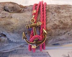 pink rope anchor bracelet