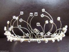 Glitzy Bridal Pagent Tiara Rhinestone Bridesmaid Girls Prom Hair Silver