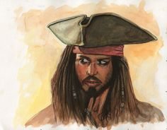 Captain Jack Sparrow watercolor painting  Original painting (and many others) for sale at my Etsy store…  http://www.etsy.com/shop/ScottChristianSava