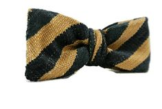 Navy Blue and Tan Stripe Bow Tie  Mens Pre-tied Clip-On by ClassA
