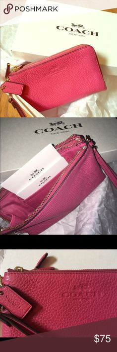 Authentic BRAND NEW Coach wristlet/ wallet BNWT, Coach authentic pink wristlet, can double as a wallet. Might consider a trade. Price is somewhat firm.. Somewhat ;-). Super cute, extremely stylish- great accessory for back to school! Comes in original coach box with coach tissue paper!! Coach Bags Clutches & Wristlets