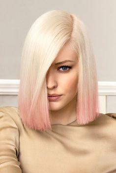blonde + baby pink hair + bob !!!