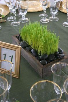 Centre de table mariage zen plante