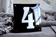 Enamel House Number 5.9 x 5.9 by enamelsign on Etsy, $99.00