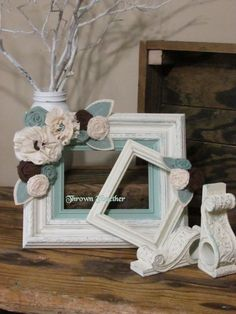 Picture Frames Decorative Wood Frames, Distressed Cream with Aqua - Embellished with Handcrafted Flowers in Aqua, Brown, & Cream Wall Decor
