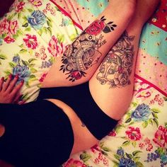 sexy thigh tattoos for women 32