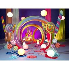 Candyland decoration ideas sweet shop birthday party ideas photo of Candy Room, Candy Land Theme, Deco Kids, Candy House, Prom Themes, Prom Decor, Willy Wonka, Candy Party, Balloons
