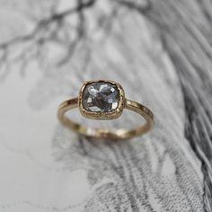 opaque diamond, natural diamond, rose cut diamond ring | rustjewellery.com