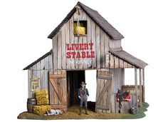 BlackHawk: The West, Black Hawk City, Livery Stable (Figure included) Forte Apache, Old Western Towns, Westerns, Old West Town, Lean To Shed Plans, Saloon, Western Theme, Rustic Western Decor, Model Train Layouts