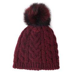 HPI Faux Fur Cable Knit Hat