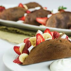 Fruit Filled Chocolate Tacos- lighter dessert with 'made from scratch' chocolate taco shells.