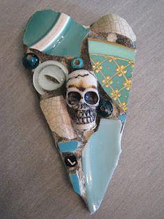 Skull heart mosaic for Lisa mosaic art