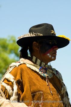 Custers Last Stand Reenactment, Battle of the Little Bighorn, Crow Native American Reservation, Montana, LeRoy Longknife Jr. portrays Bloody Knife, Arikara Sioux, 7th Cavalry scout,Allen Russell photography MODEL RELEASED
