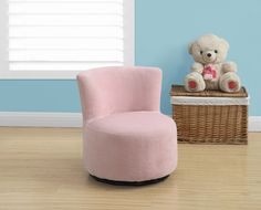 Juvenile Chair - Swivel / Fuzzy Pink Fabric. Add flair and style to your child's bedroom or playroom with this fun sized juvenile accent chair. Upholstered in a soft fuzzy pink material, this chair is the perfect place for your young one to read, watch a movie or have their own special place to sit for family night!  Featuring a curved back and round seat cushion this chair also features  a 360-degree swivel making it a must have for any child! * Fun sized accent chair ideal for bedrooms...