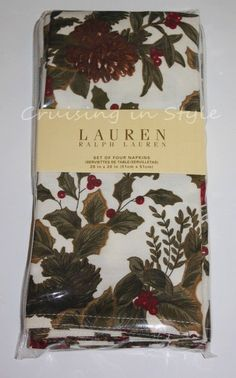 Ralph Lauren Cloth Napkins NEW 4 Birchmont Christmas Thanksgiving Holiday #RalphLauren