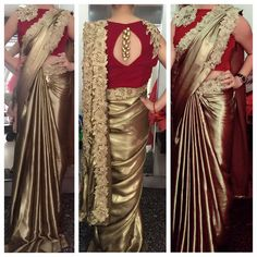 Trendy Art Gallery Wedding Reception The Bride Saree Designs Party Wear, Bridal Blouse Designs, Saree Blouse Designs, Saree Gown, Satin Saree, Lace Saree, Golden Saree, Stylish Dresses, Stylish Suit
