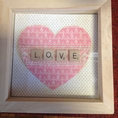 LOVE pink heart with lace ribbon in frame