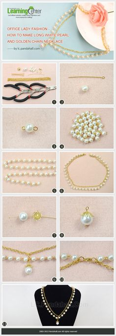 Office Lady Fashion - How to Make Long White Pearl and Golden Chain Necklace