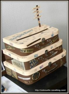 Urne de mariage : vintage / voyage (tutoriel / DIY)