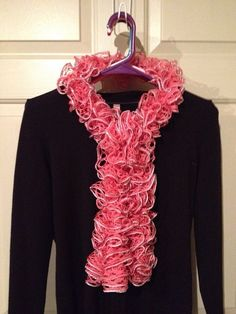 Salmon Ruffle Scarf on Etsy, $20.00
