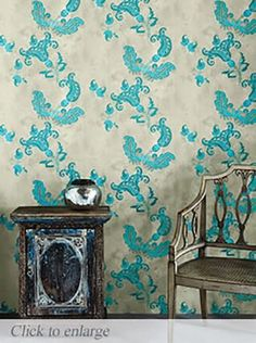 Barneby Gates Wallpaper - Paisley - Turquoise on Old Grey - View All - Wallpaper & Decor Paisley Wallpaper, Lines Wallpaper, Star Wallpaper, Unique Wallpaper, Wallpaper Ceiling, Ceiling Murals, Wallpaper Decor, Liberty Of London, Stained Trim