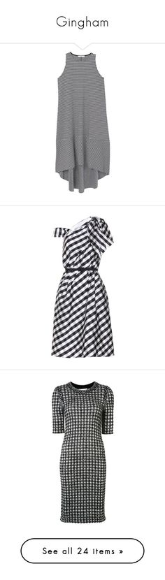 """""""Gingham"""" by clary94 ❤ liked on Polyvore featuring dresses, vestidos, tops, round neck dress, back zipper dress, gingham dress, mango dresses, flared dresses, multicoloured and taffeta dress"""