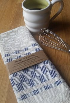 Chef's Towel Handwoven Navy Blue Sustainable Cotton Organic Cottolin by ShakerHillsStudio on Etsy https://www.etsy.com/listing/521617451/chefs-towel-handwoven-navy-blue