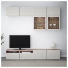 IKEA - BESTÅ TV storage combination/glass doors walnut effect light Sofa Deals, Best Leather Sofa, Unique Sofas, Sofa Price, Couch Set, Tv Storage, Interior Accessories, Sofa Design, Interior Design