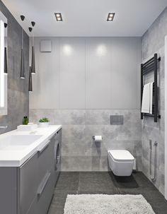 Wood-concrete duo on Behance Big Bathrooms, Master Bathroom, Washroom, Bathroom Design Small, Bathroom Interior Design, Concrete Wood, Home Bedroom, House Plans, House Design