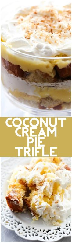 Coconut Cream Pie Trifle is part of Trifle recipe - Layers of coconut pie filling, coconut sweetened whipped cream and coconut pound cake combine to make one unbelievably yummy treat! Coconut Pound Cakes, Coconut Desserts, Trifle Desserts, Coconut Recipes, Easy Desserts, Delicious Desserts, Dessert Recipes, Dessert Trifles, Chef Recipes