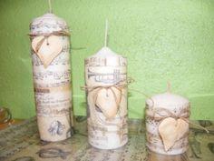Las velas decoradas del foro Natural Candles, Handmade Candles, Pillar Candles, Decoupage, Jar, Adventure, Vintage, Chic, School