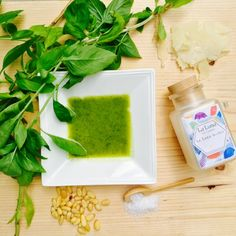 How to make this In a blender or Cuisinart mix the following: 1/2 cup Fresh Basil 1/4 cup Pine Nuts 1 cup Extra Virgin Olive Oil 1 Garlic Clove 1/3 cup Parmesan Cheese 1 La Luna spoon full Sea Salt     Blend and enjoy!